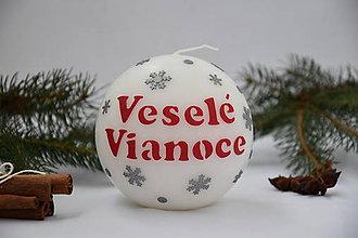 Svietidlá a sviečky - vianočná sviečka so snehovými vločkami - 7410986_