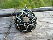 Náhrdelníky - Náhrdelník Černá rozeta - 7411897_