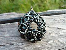 Náhrdelníky - Náhrdelník Černá rozeta - 7411899_