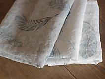 Úžitkový textil - Ľanové utierky - set 3ks s ručnou potlačou tyrkysovo-šedých pierok - 7409792_