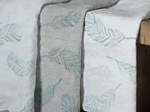 Úžitkový textil - Ľanové utierky - set 3ks s ručnou potlačou tyrkysovo-šedých pierok - 7409810_