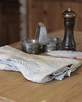 - Ľanové utierky - set 2ks s ručnou potlačou tyrkysovo-šedých pierok - 7411775_