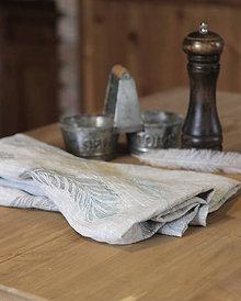 Úžitkový textil - Ľanové utierky - set 2ks s ručnou potlačou tyrkysovo-šedých pierok - 7411775_