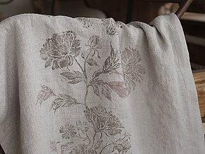 Úžitkový textil - Ľanový obrus/behúň 54x194cm s ručne potlačenými kvetmi - 7411789_