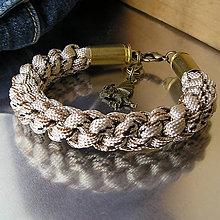 Šperky - náramok zo šnúry s nábojnicami - 7409402_