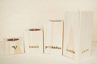 Svietidlá a sviečky - drevený svietnik - sada 2 - 7411250_