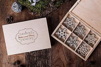 Dekorácie - Vianočné vločky z dreva - Kolekcia TICHÁ NOC - 7412998_
