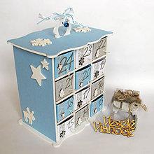 Dekorácie - Adventný kalendár modrý - 7409474_