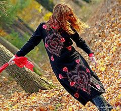 Šaty - Dámske midi šaty šité, maľované, etno ARIADNÉ - 7409030_
