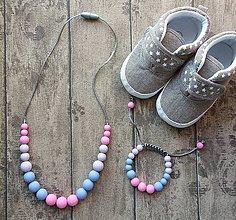 """Sady šperkov - Set silikónového náhrdelníka a náramku na žužlanie """"Barbie"""" - 7407841_"""