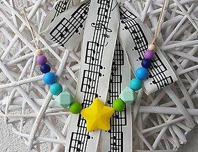 """Detské doplnky - Silikónový náhrdelník vhodný aj na kúsanie pre deti """"Žltá hviezda"""" - 7409886_"""