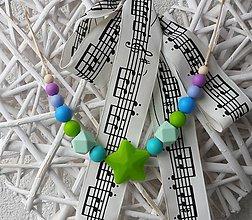 """Detské doplnky - Silikónový náhrdelník na žužlanie """"Zelená hviezda"""" - 7410127_"""