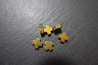 Minerály - Krížik II z hematitu zlatého 10x10 - 7412819_