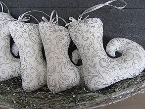 Dekorácie - vianočné čižmičky strieborné - 7413063_