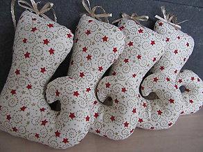 Dekorácie - vianočné čižmičky zlato červené - 7413259_