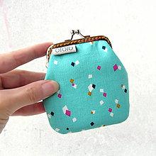 Peňaženky - Peňaženka Kosoštvorce na tyrkysovej - 7408325_
