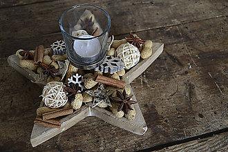 Svietidlá a sviečky - Vianočný svietnik v tvare hviezdy (Prírodný) - 7410532_