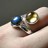 - Harmony of Gemstones Ring - Citrine & Labradorite / Prsteň H - 7417030_