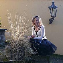 Sukne - Čierná tylová sukňa - 7413518_