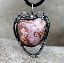 Náhrdelníky - Ružový achát náhrdelník/prívesok - 7414761_