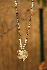 Náhrdelníky - Dlhý náhrdelník z minerálov achát, kremeň, perly - 7417700_