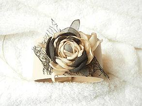 Náramky - Náramok koženo-textilný, rozvážny - 7414499_