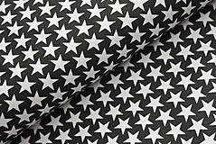 Textil - Vzor 28  - čierna s malými bielymi hviezdičkami - 7419112_