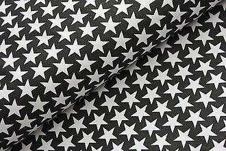 Textil - Vzor 28  - čierna s bielymi hviezdičkami - 7419112_