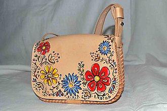 Kabelky - kabelka kožená ručne maľovaná - 7418717_