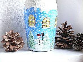 Nádoby - Zimná darčeková fľaša - 7421335_