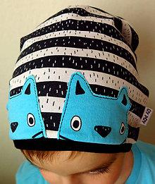 Detské čiapky - čiapka Zvedavé mačiatka na prúžku (nepodšitá) - 7422499_