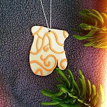 Dekorácie - Strieborné vianočné ozdoby (ornamenty - rukavica) - 7418802_