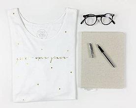 Tričká - Dámske tričko biele BAMBUS 01 zlatá potlač GRACE - 7419377_