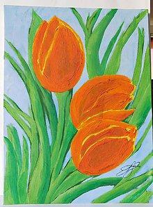 Obrazy - Farebné tulipány originálna maľba - 7426040_