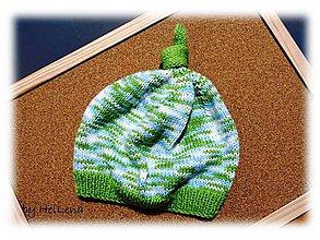 Detské čiapky - Detská čiapka - Zelenobiela - 7428839_
