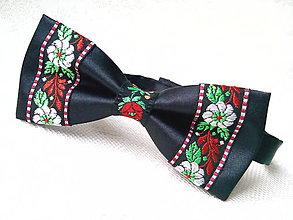 Doplnky - Folklórny pánsky motýlik (čierny) - 7427414_