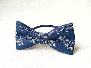 Ozdoby do vlasov - Dark blue folklore hair bow - 7427516_
