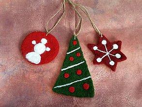 Dekorácie - Plstené vianočné III - 7425524_