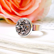 Prstene - Copper Druzy & Silver Ring / Prsteň s medeným drúzovým kabošonom - 7427966_