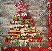 Papier - S892 - Servítky - strom, stromček, vianoce, vianočný, škorica - 7423795_