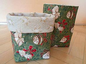 Dekorácie - Vianočné košíky - zelené - 7428261_