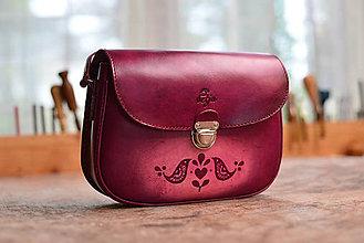 Kabelky - kabelka kožená PASPULA vzorovaná s vtáčikmi - 7428015_