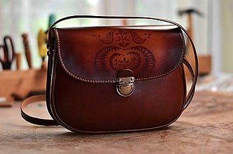 Kabelky - kabelka kožená PASPULA vzorovaná s vtáčikmi - 7428626_