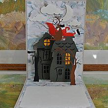 Papiernictvo - Vianočná pohľadnica, santa v komíne - 7423612_