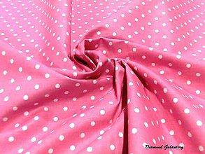 Textil - Bavlná bodky biele na ružovom - cena za 10 cm - 7425024_