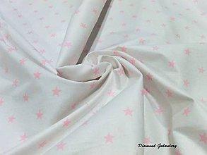 Textil - Bavlna hviezdičky ružové - cena za 10 cm - 7425329_