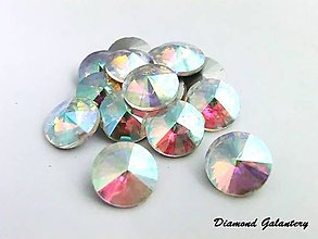 Komponenty - Rivolky 12 mm - AB crystal - sklenené - 7426450_