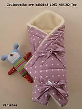 Textil - Zavinovačka pre bábätka Merino Bodka ružová - 7429219_