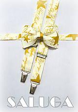 - Vianočný set - motýlik + traky, pánsky - Merry Christmas bowtie - zlatý - 7426336_
