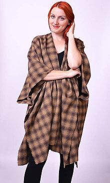 Kabáty - Hnedé kárované pončo - 7425955_